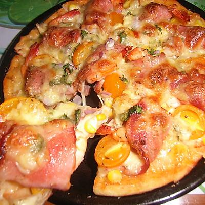 意式培根卷大虾批萨