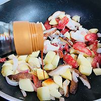 #憋在家里吃什么#香菇土豆腊肠焖饭的做法图解12