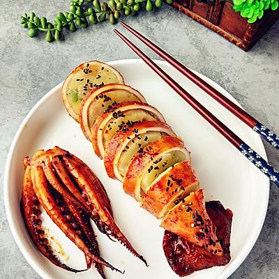 香辣鱿鱼烤土豆泥