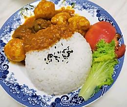 咖喱鱼丸饭的做法