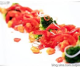 酸辣银杏凤尾虾的做法