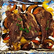 烤法式羊排时蔬