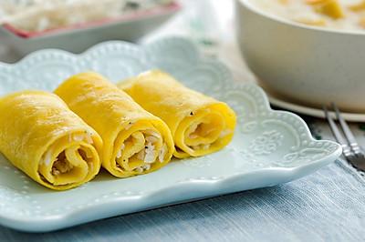 银鱼蛋卷 & 红薯小米粥