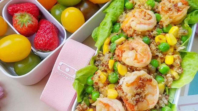 越吃越瘦的虾仁藜麦炒饭#monbento为减脂季撑腰#的做法
