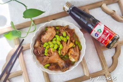 毛豆米红烧大公鸡