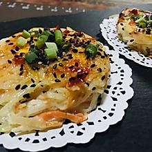 玩儿出一个新花样,鸟巢土豆丝煎蛋饼
