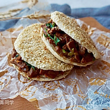 烧饼夹烤肉#利仁电饼铛,烙烤不翻锅#