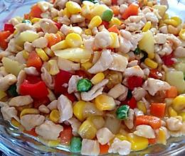 鸡肉玉米菠萝胡萝卜甜椒粒的做法