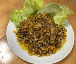 彩椒肉碎生菜包的做法