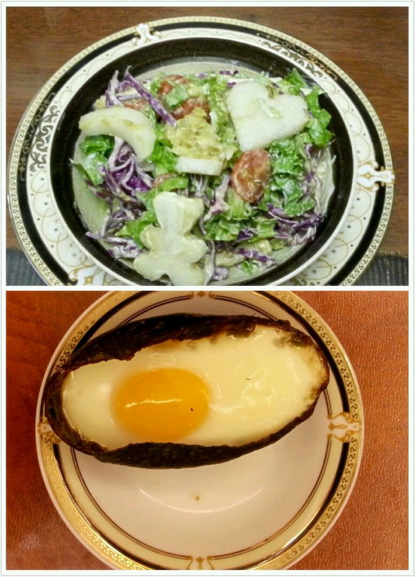 牛油果两吃 : 水果蔬菜沙拉+牛油果焗蛋的做法