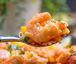 平底锅茄汁虾仁烩饭的做法
