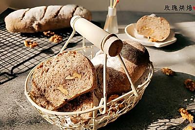 無糖無油無負擔的黑麥核桃面包。