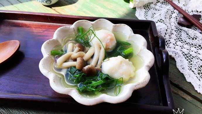 豌豆尖菌菇虾丸汤