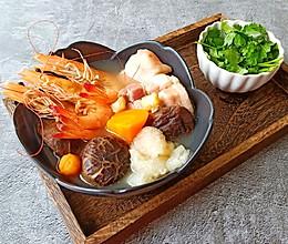 五福临门-- 鲜虾咸肉汤的做法