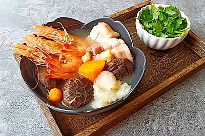 五福临门-- 鲜虾咸肉汤