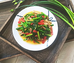 韭菜苔肉丝-炒菜只需六十秒的做法