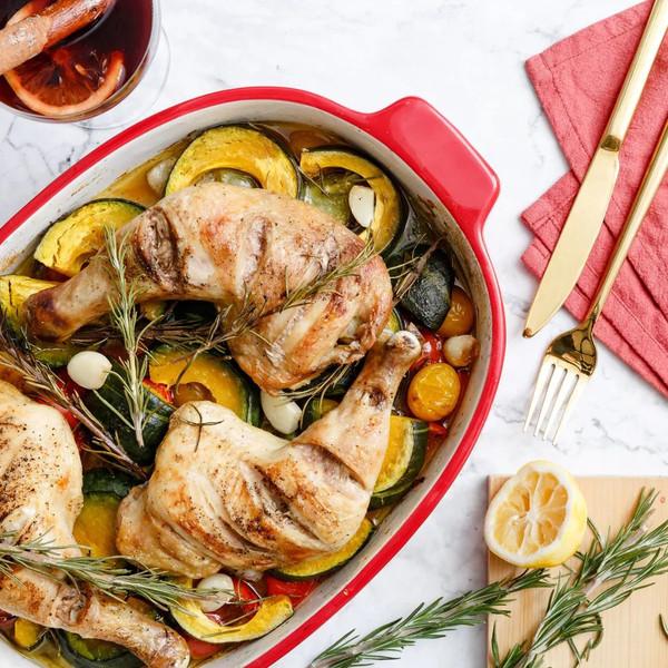 感恩节快手烤箱大餐,南瓜番茄配鸡腿,一秒驱散冬季的孤独感!