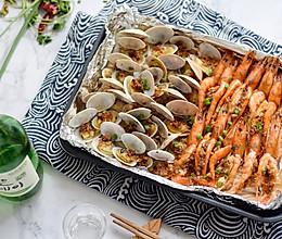 蒜蓉金针菇花蛤虾的做法