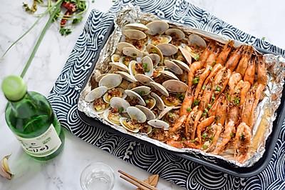 蒜蓉金针菇花蛤虾