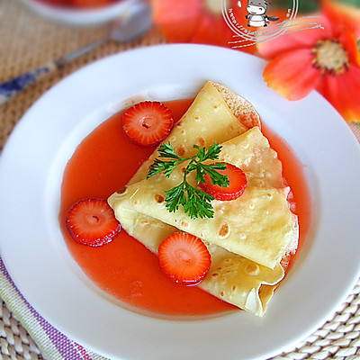 法式草莓可丽饼