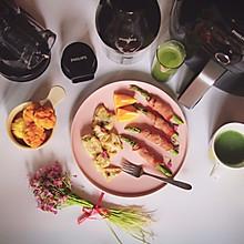 培根芦笋卷、橙味鳕鱼、黄瓜芹菜汁、奶酪米蛋糕