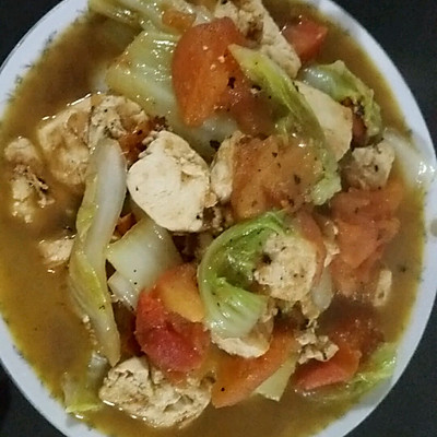番茄白菜炖豆腐的做法 步骤1