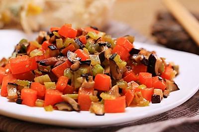 芹菜胡萝卜炒蘑菇丁-迷迭香