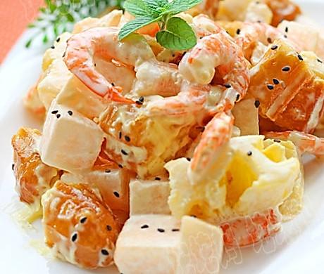 水果虾仁油条沙拉