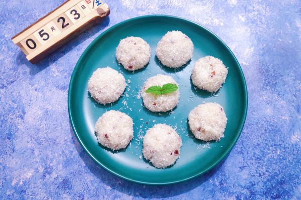 5步搞定好吃的山药蔓越莓椰蓉团的做法