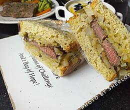 【快手健康轻食】大块牛排三明治的做法