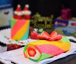 彩虹布丁蛋糕卷#安佳喜卷圣诞#的做法