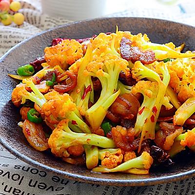 五花肉干煸有机花菜-在家做出饭店的味道