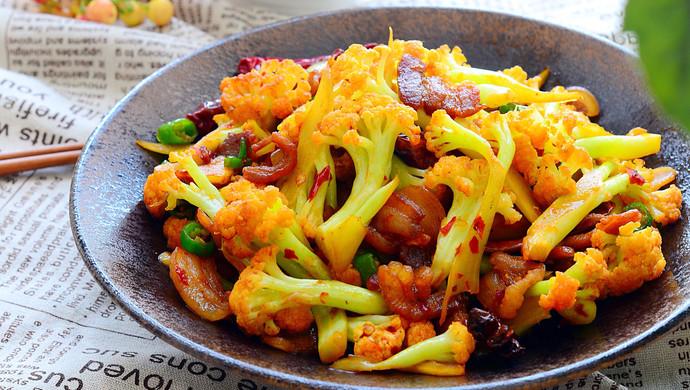 五花肉干煸有机花菜-在家做出饭店的味道#一机多能 一席饪选#