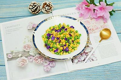 创意菜–紫甘蓝松仁玉米