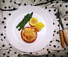 #一人食# 番茄酿鸡肉泥配玉米和芦笋的做法