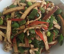 下饭菜青椒毛豆肉丝炒香干的做法