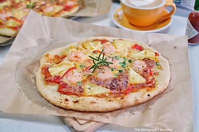 虾仁菠萝披萨(附带披萨酱制作)