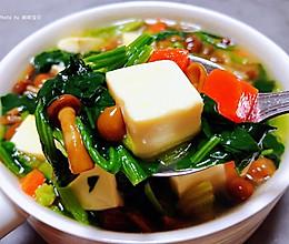 #餐桌上的春日限定#滑子蘑菠菜豆腐羹的做法