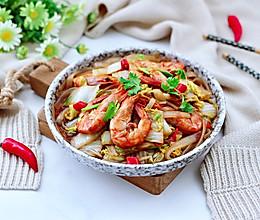 #营养小食光#娃娃菜粉条爆海虾的做法