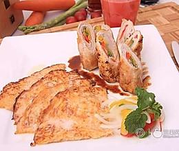 《顶级厨师》参赛作品:五彩猪肉卷配西瓜薄饼的做法