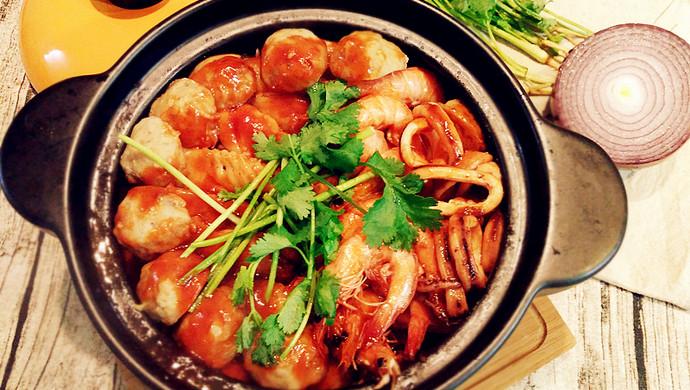酱焖鸡翅海鲜锅