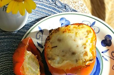 烤箱版芝士菠菜肉末酿甜椒