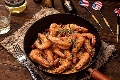 超简单年夜菜【避风塘炒虾】,好吃到面包糠都要舔干净