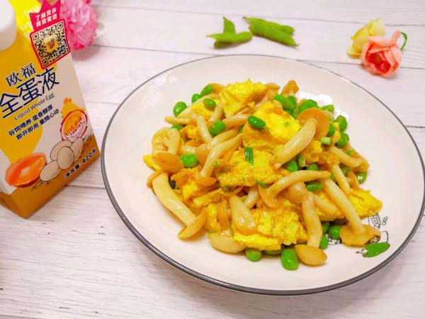毛豆白玉菇炒鸡蛋的做法