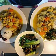 咖喱土豆鸡胸肉杂蔬饭