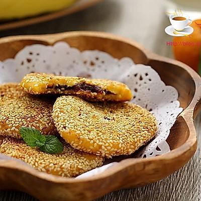 芝麻红薯豆沙饼