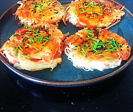 #美食视频挑战赛#鸟巢土豆丝饼(高颜值减脂早餐)的做法