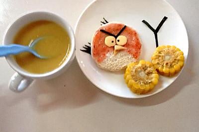 宝宝早餐食谱:愤怒小鸟吐司加南瓜红枣米糊~