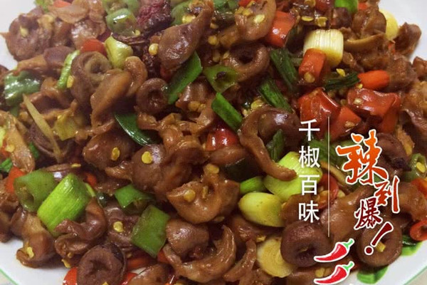 秘方辣炒鸡杂湘味菜的做法