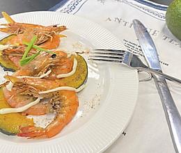 南瓜黄油焗虾的做法